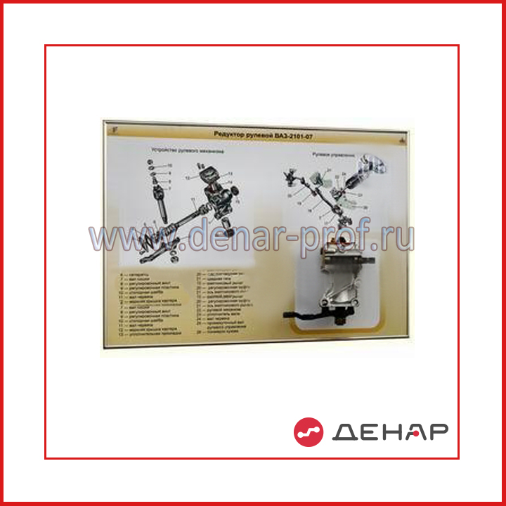 Стенд-планшет «Рулевой механизм червячно-роликовый ВАЗ-2106»