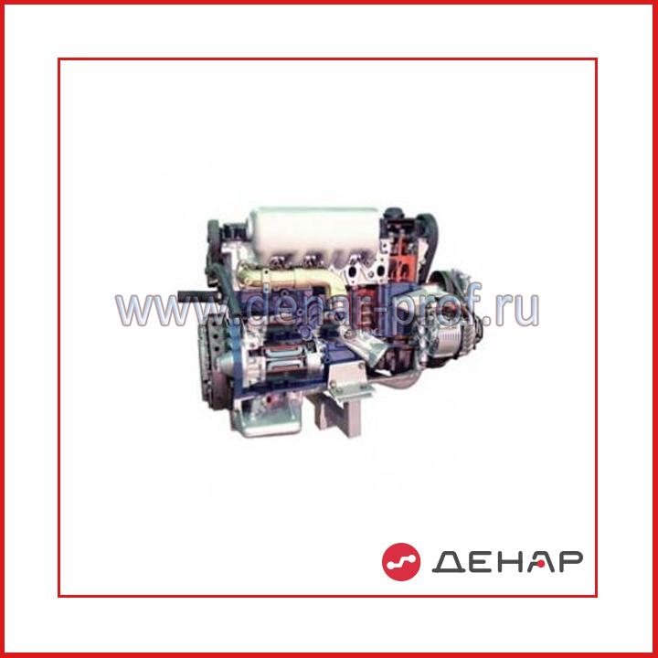 Дизельный двигатель легкового автомобиля с навесным оборудованием в сборе со сцеплением и коробкой передач (агрегаты в разрезе)